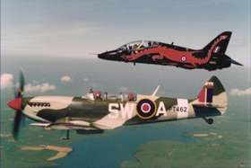 Hawk T1 & Spitfire T9 over Anglesey